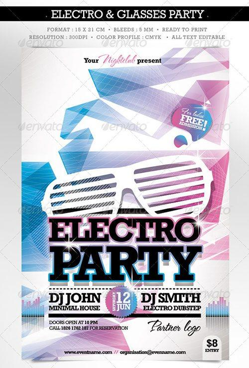 electro party dubstep drum bass techno trance flyer poster template free club party psd flyer templates - free premium psd flyer templates to download