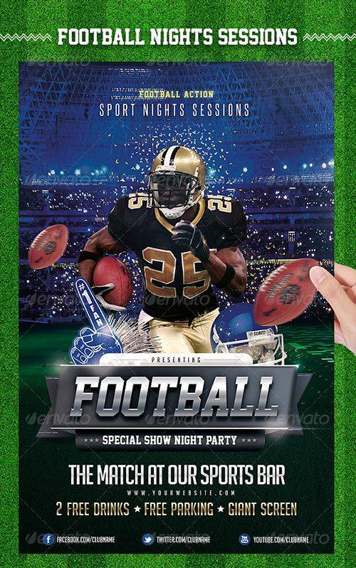 top 10 american football psd flyer templates. Black Bedroom Furniture Sets. Home Design Ideas