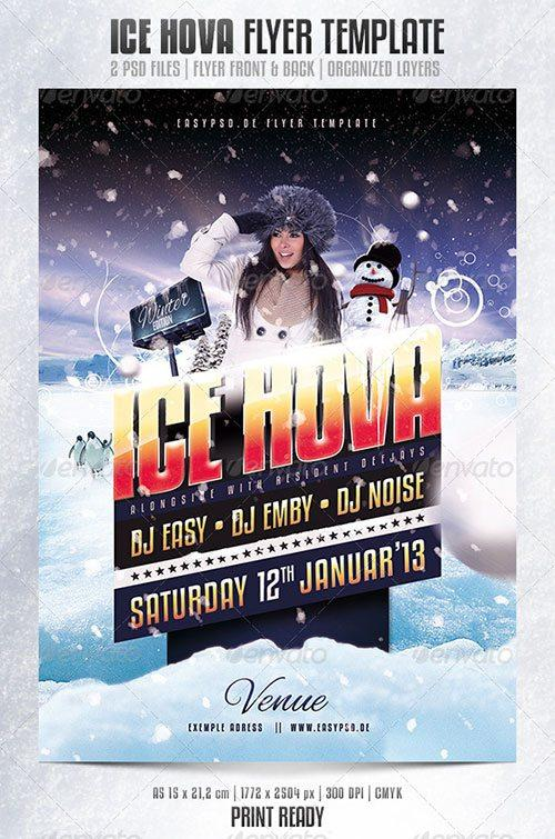 winter ice snow party entry flyer poster template free club party psd flyer templates - free premium psd flyer templates to download