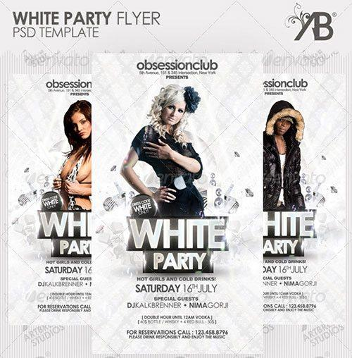 white party all white  flyer free club party psd flyer templates - free premium psd flyer templates to download