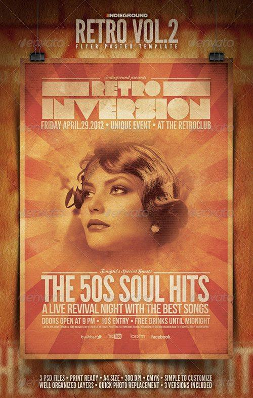 vintage retro flyer indie rock poster template free club party psd flyer templates - free premium psd flyer templates to download