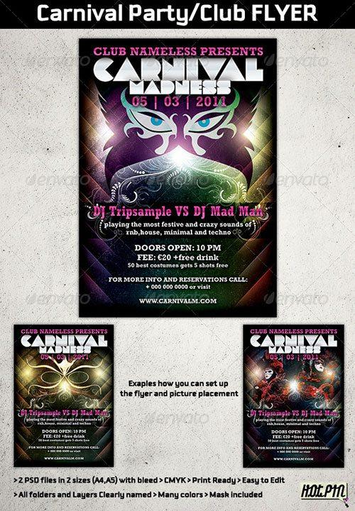 carnaval karneval flyer poster template free club party psd flyer