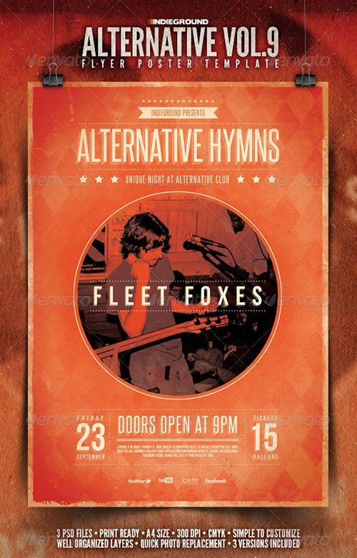 alternative rock flyer indie rock template poster free club party psd flyer templates - free premium psd flyer templates to download