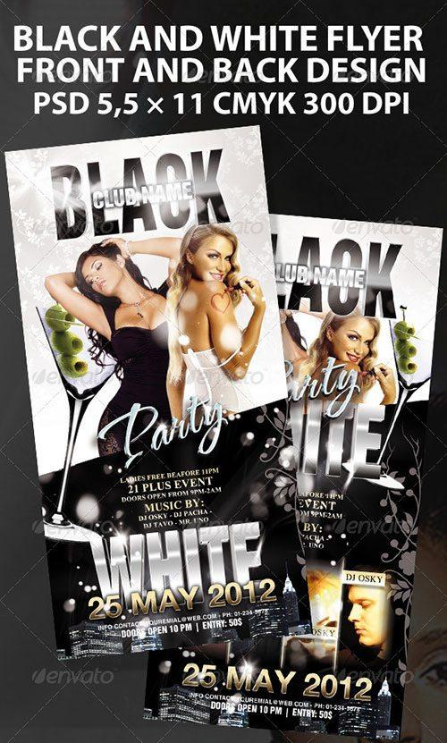 black and white party all white  flyer free club party psd flyer templates - free premium psd flyer templates to download