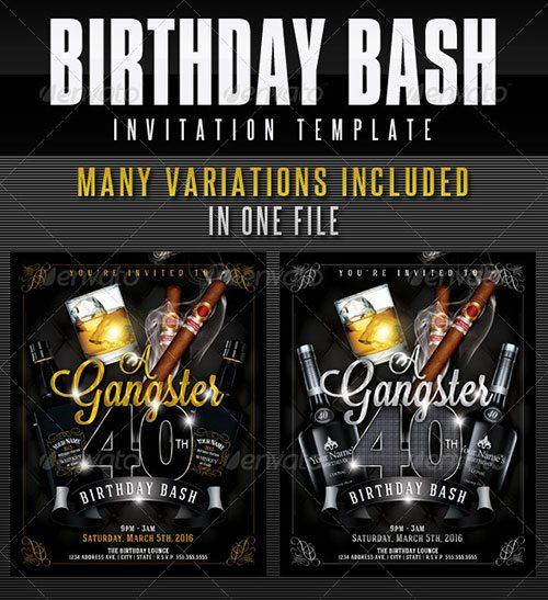 40th birthday ideas gangster birthday invitation templates birthday flyer poster template free club party psd flyer templates stopboris