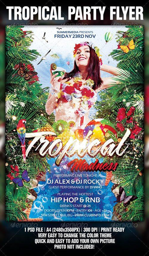 tropical summer beach pool flyer poster template free club party psd flyer templates - free premium psd flyer templates to download