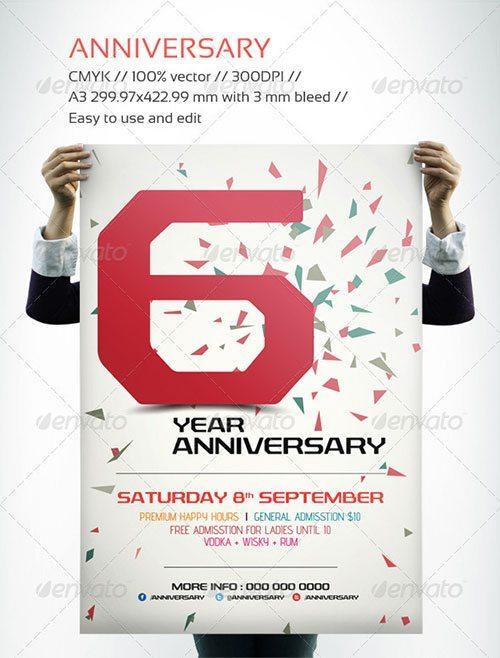 Anniversary Poster Template  BesikEightyCo