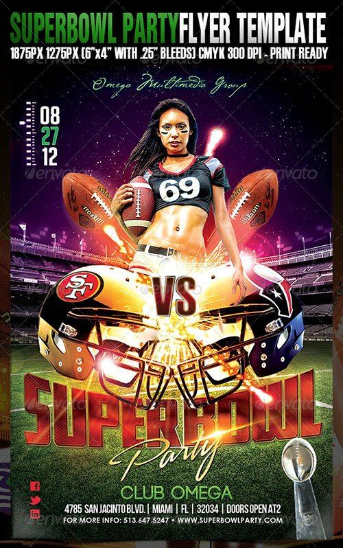football superbowl flyer poster template free club party psd flyer