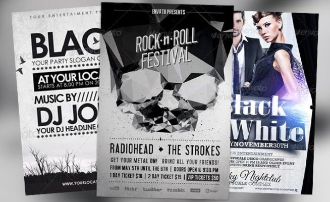 Top 10 Best Black and White PSD Flyer Templates