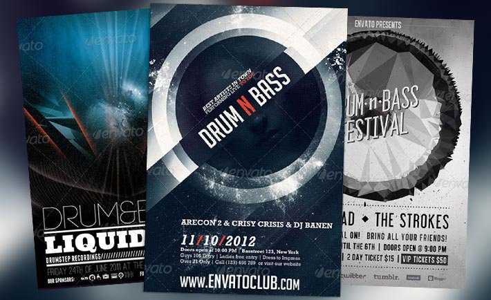 Top 10 Best Drum n Bass Electro Club PSD Flyer Templates