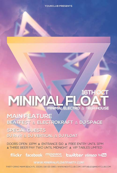 Minimal Float Minimal Electro Free PSD Flyer Template