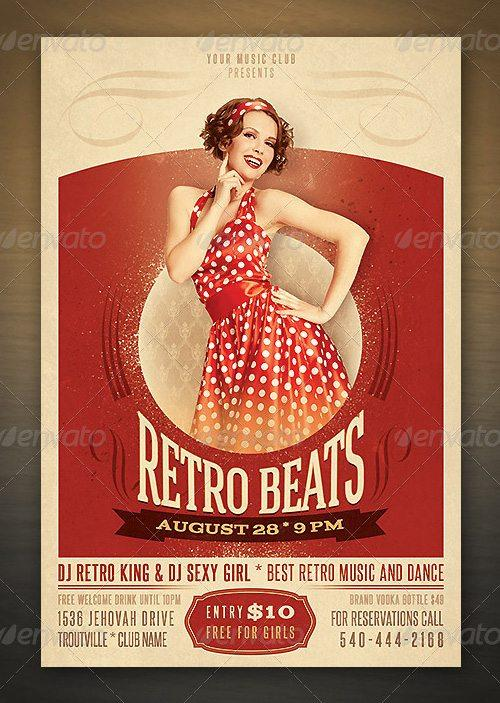 featured top fancy retro beats club party night flyer psd template to download flyersonar
