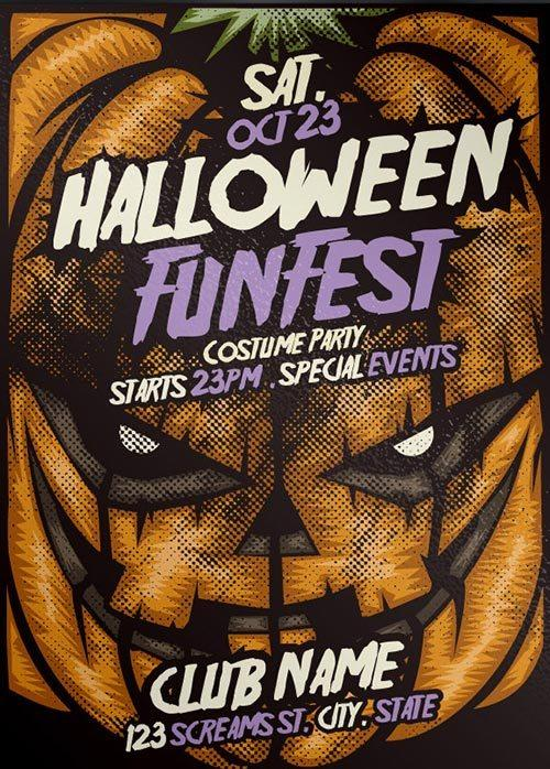 Free Pumpkin Halloween PSD Flyer Template