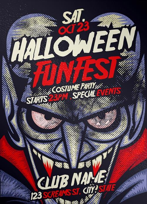 Free Vampire Halloween PSD Flyer Template