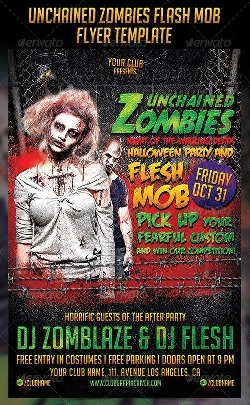 Unchained Zombies Flash Mob Party Flyer