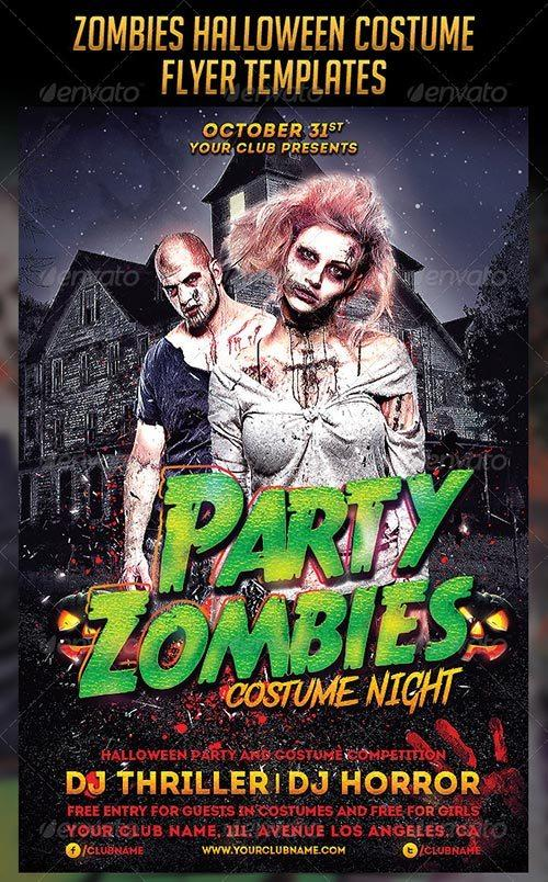 Zombies Halloween Costume Flyers