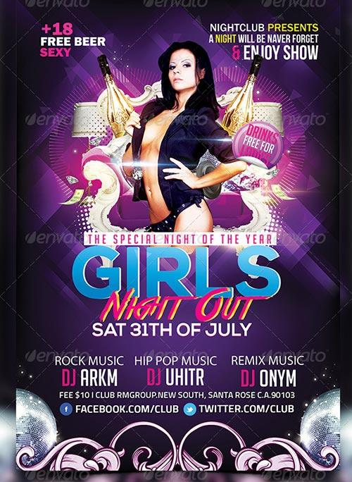 Girls Night Out Party Flyer Template