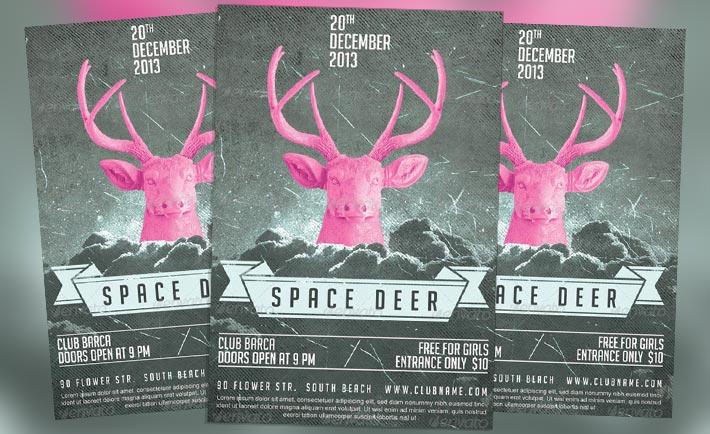Featured Flyer: Space Deer Flyer PSD Template