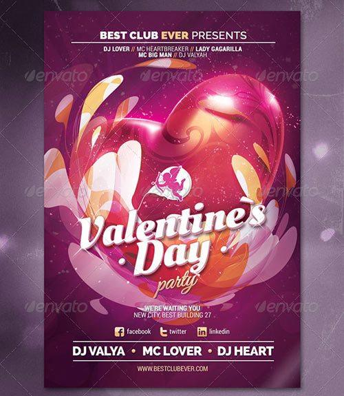 Valentine`s Day, Love Night Party Flyer