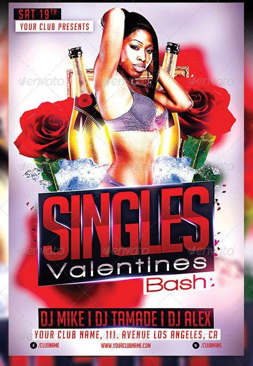 Singels Valentines Party PSD Flyer Template