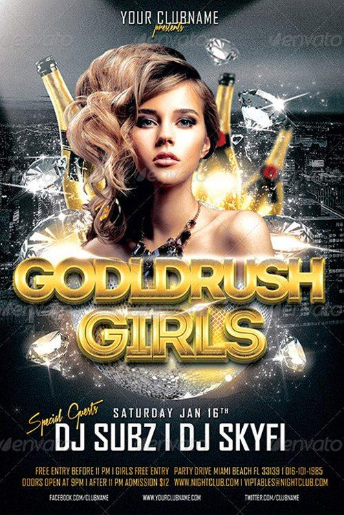 Featured Flyer: Goldrush Girls Club Party Flyer Template at Flyersonar