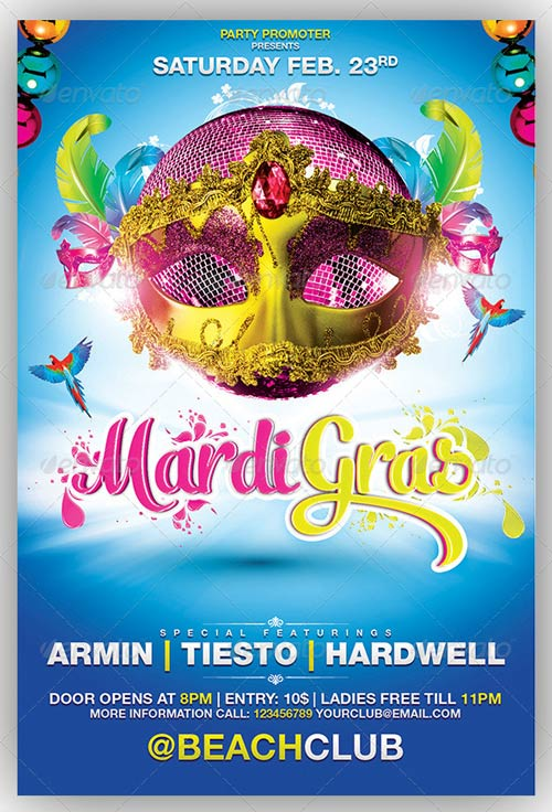 A Colorful Mardi Gras / Carnival Party Flyer