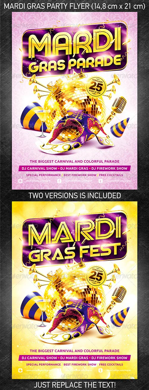 Mardi Gras Party Flyer Vol.2