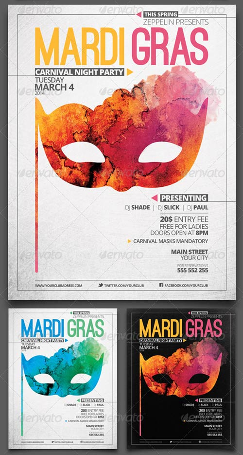 Mardi Gras and Other Events Party Flyer Template