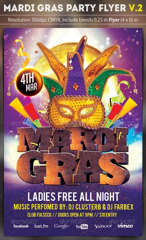 Mardi Gras Party Flyer v.2