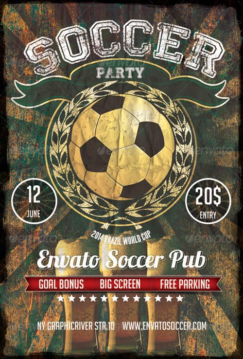 Retro Soccer Pub Bar Flyer