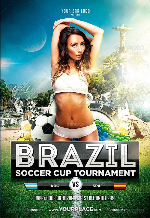 Brazil World Cup Tournament Flyer Template