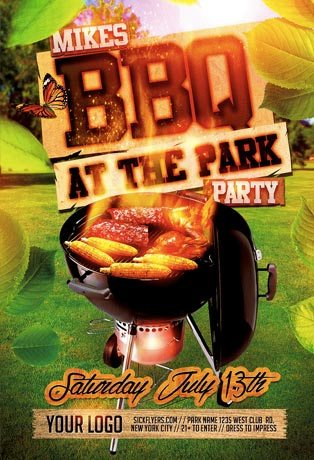 Best 10 BBQ Summer Party Flyer Templates Collection PSD