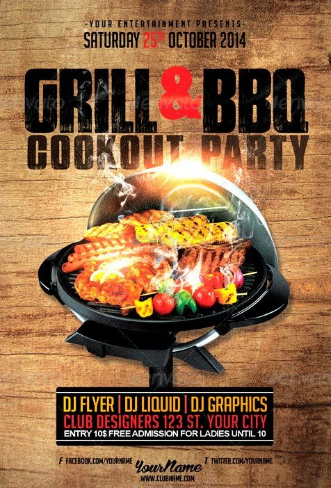 Cookout Grill BBQ Flyer Template