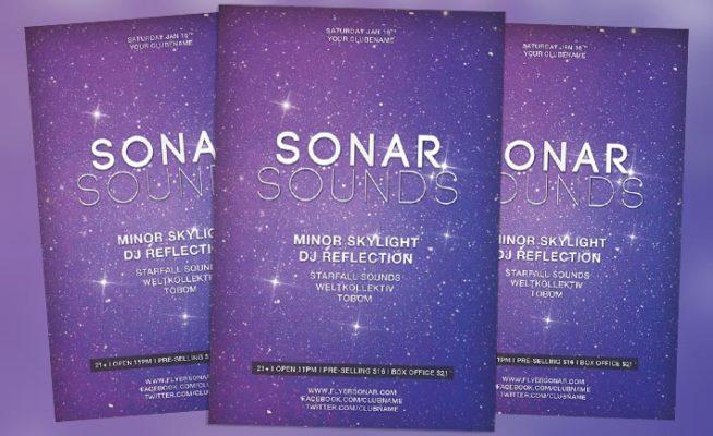 Sonar Sound Vol. 1 Minimal Electro Free PSD Flyer Template