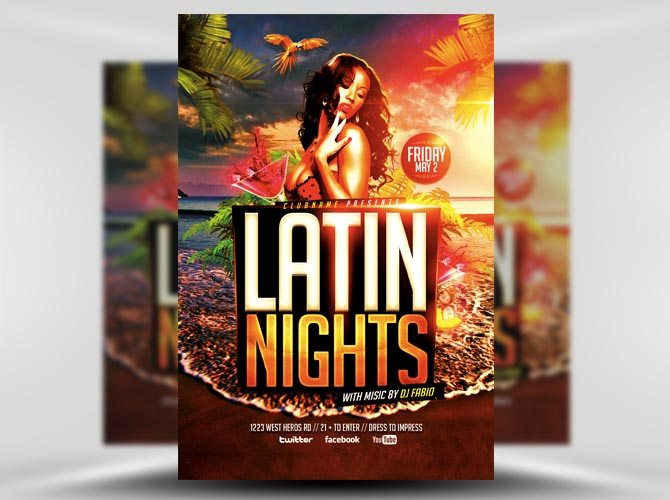 Latin Nights Beach Flyer Template