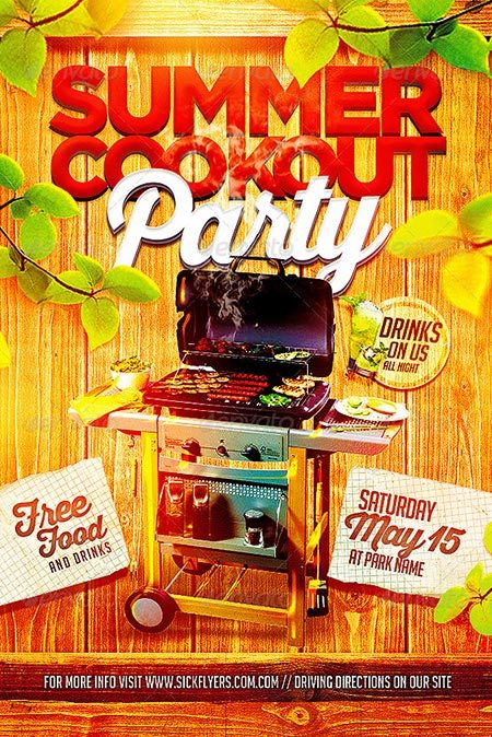 Summer Cookout Party Flyer PSD