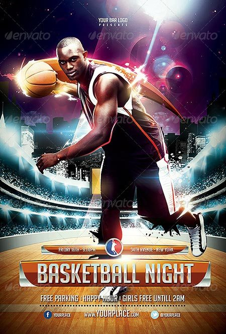 XTRM Basketball Night Flyer Template
