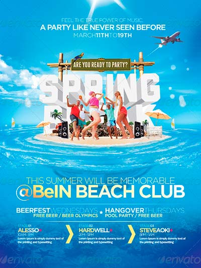 Spring Break & Summer Party Flyer