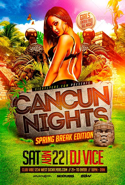 Cancun Spring Break Flyer Template PSD