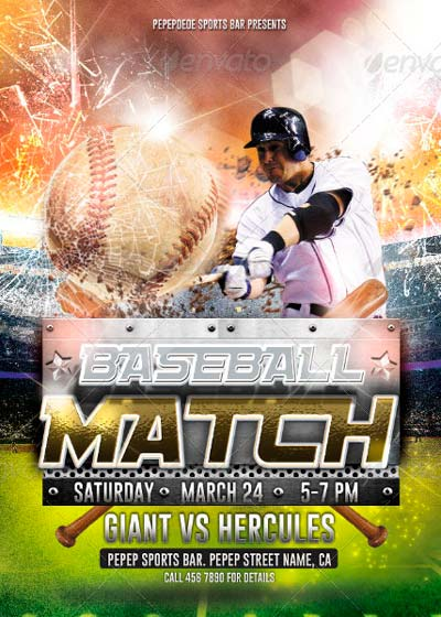 Baseball Match Homerun Flyer Design