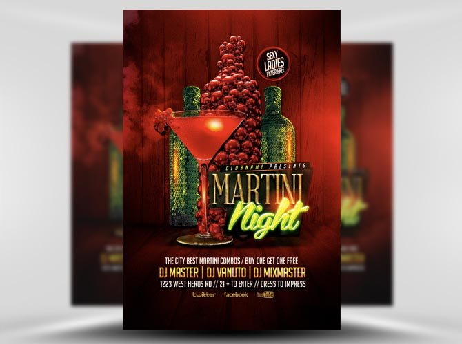 Martini Nights Cocktail Flyer Templater