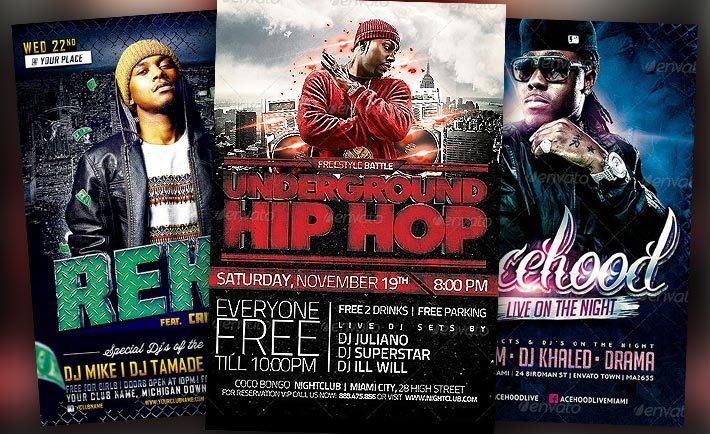 Download the best Hip Hop Flyer Templates for Photoshop!