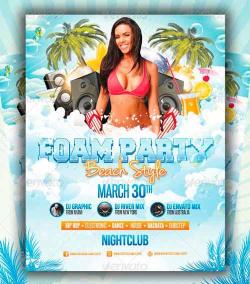 Foam Party Beach Style - Flyer Template