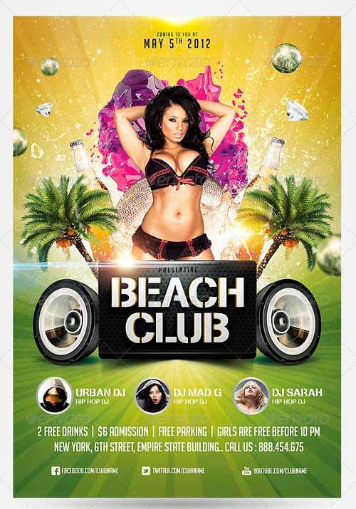 Summer Beach Club Flyer Template
