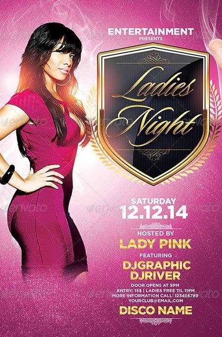 Ladies Night Pink Flyer Template