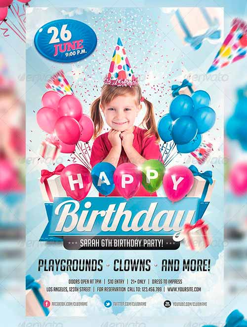 Kids Birthday Invitation Party Flyer