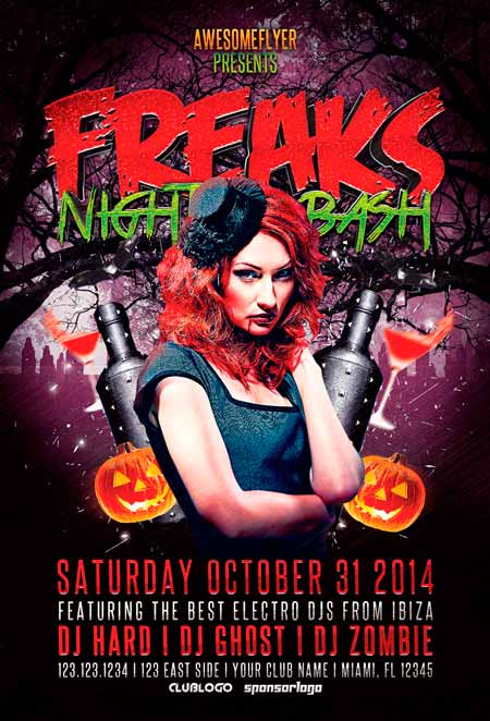 Freaks Night Halloween Party Flyer Template - Awesomeflyer Halloween Party Flyer Bundle Vol.1