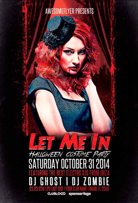 Let Me In Halloween Party Flyer Template - Awesomeflyer Halloween Party Flyer Bundle Vol.1