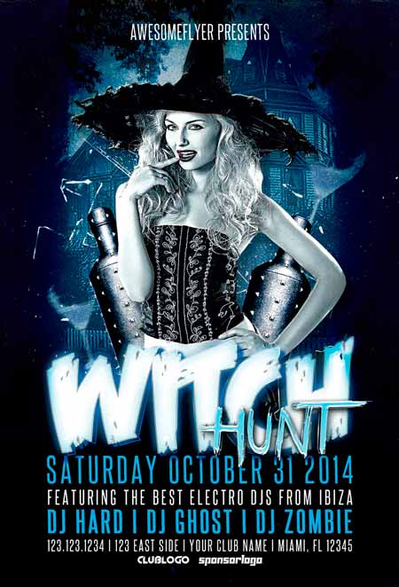 Witch Hunt Halloween Party Flyer Template Awesomeflyer Halloween Party Flyer Bundle Vol.1