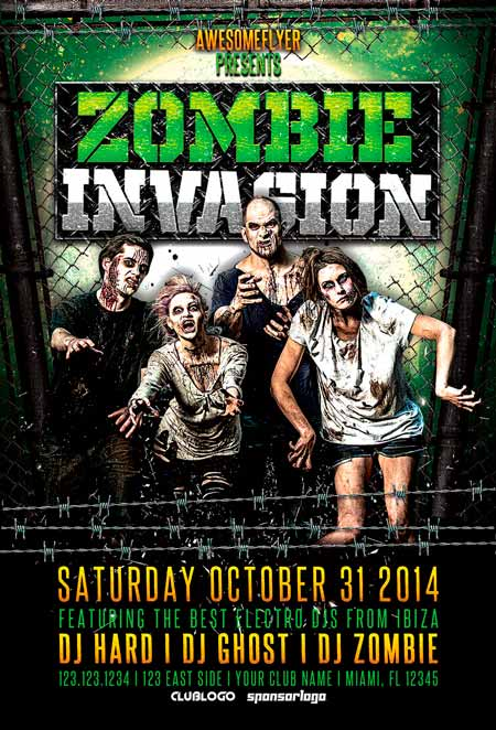Zombie Invasion Halloween Party Flyer Template Awesomeflyer Halloween Party Flyer Bundle Vol.1